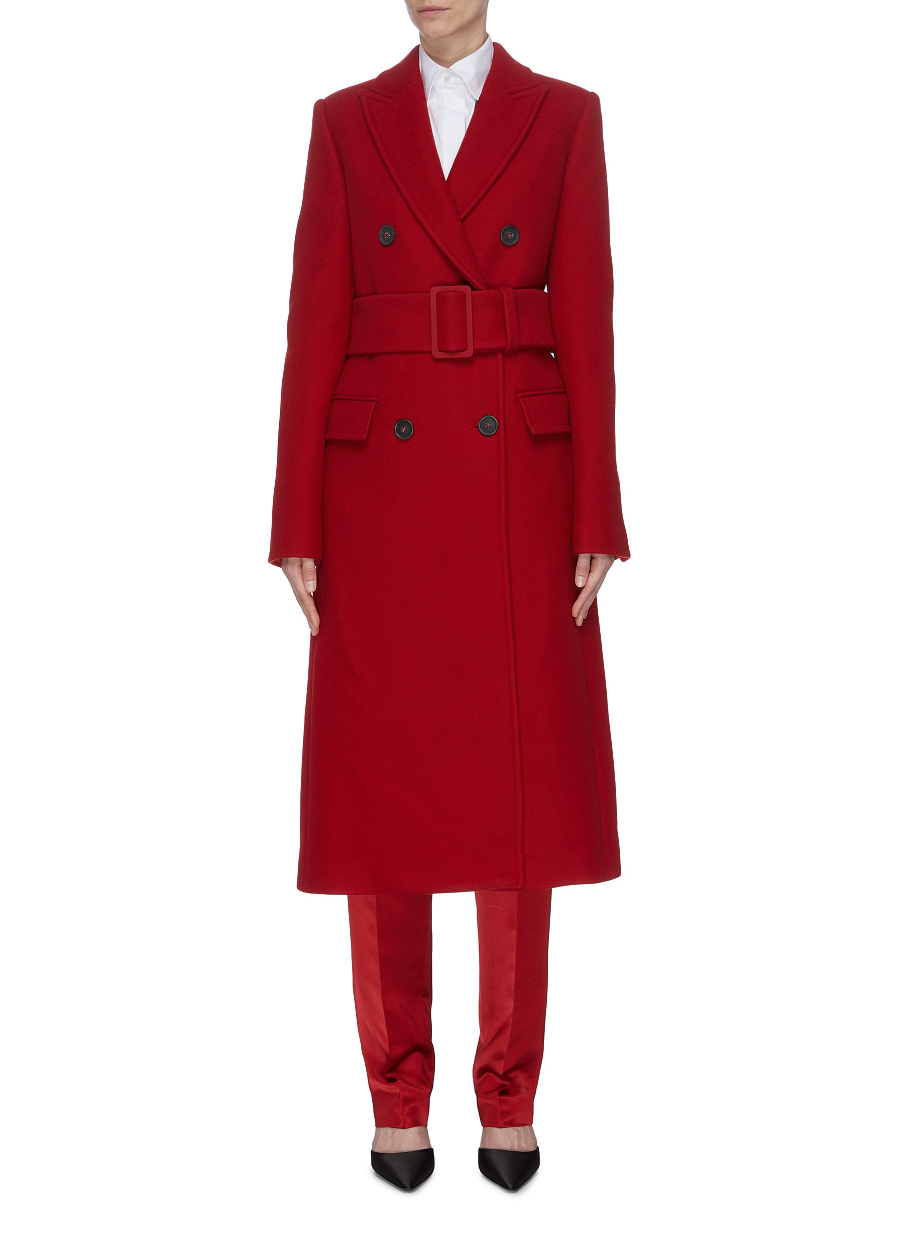 Belted double breasted wool coat by Helmut Lang
