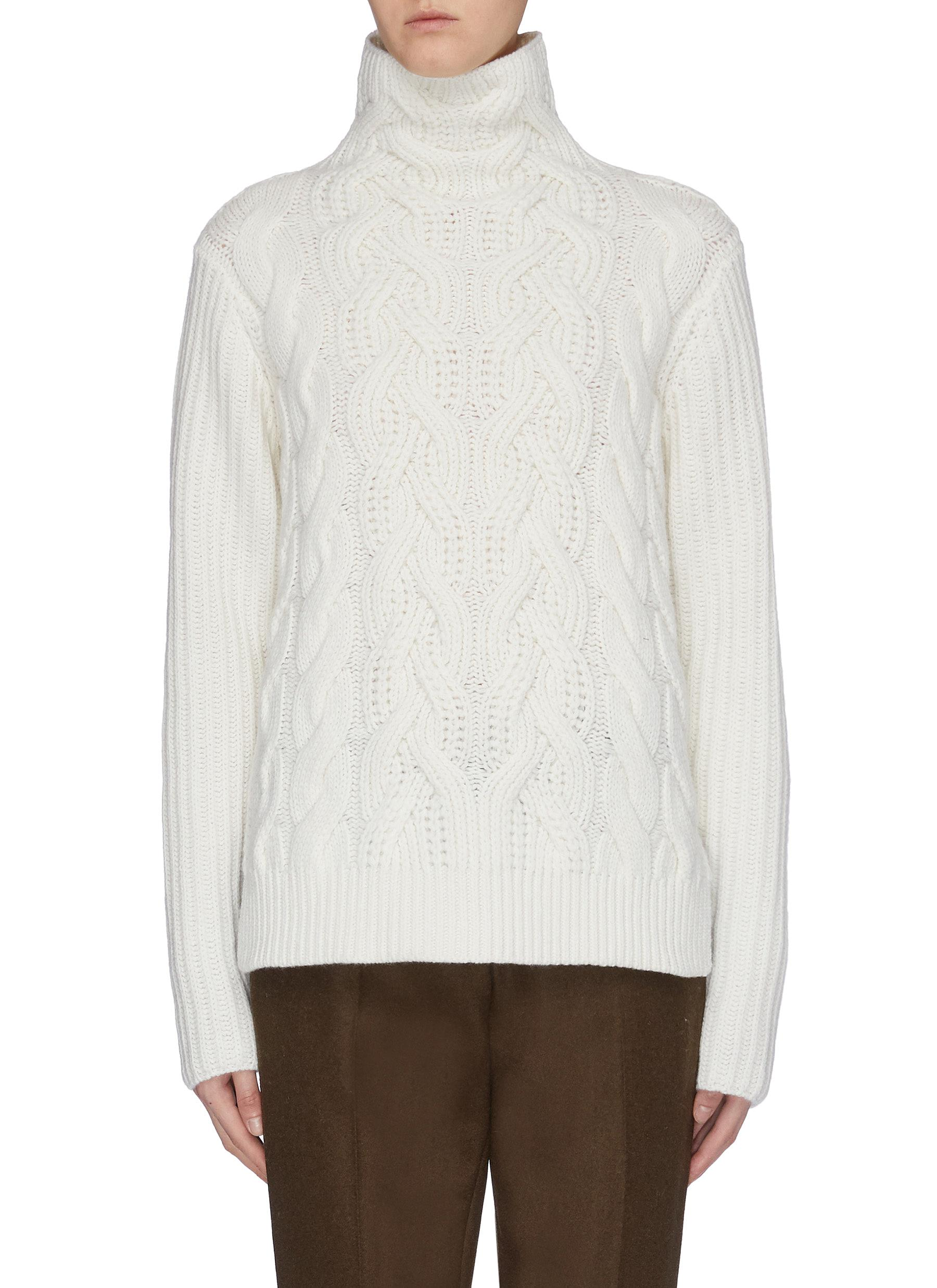 Lambswool cable knit turtleneck sweater by Helmut Lang