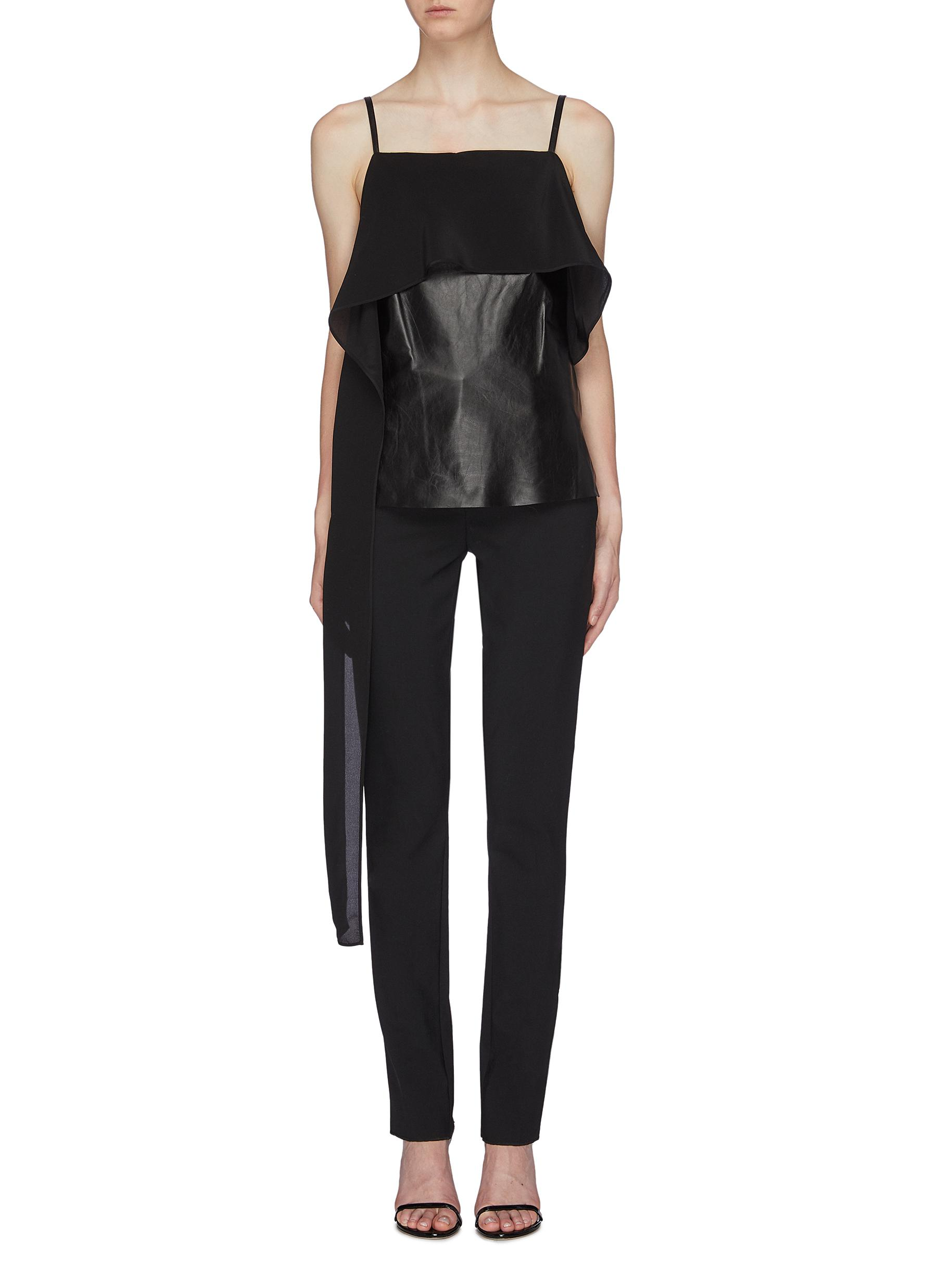 Drape panel leather camisole top by Helmut Lang