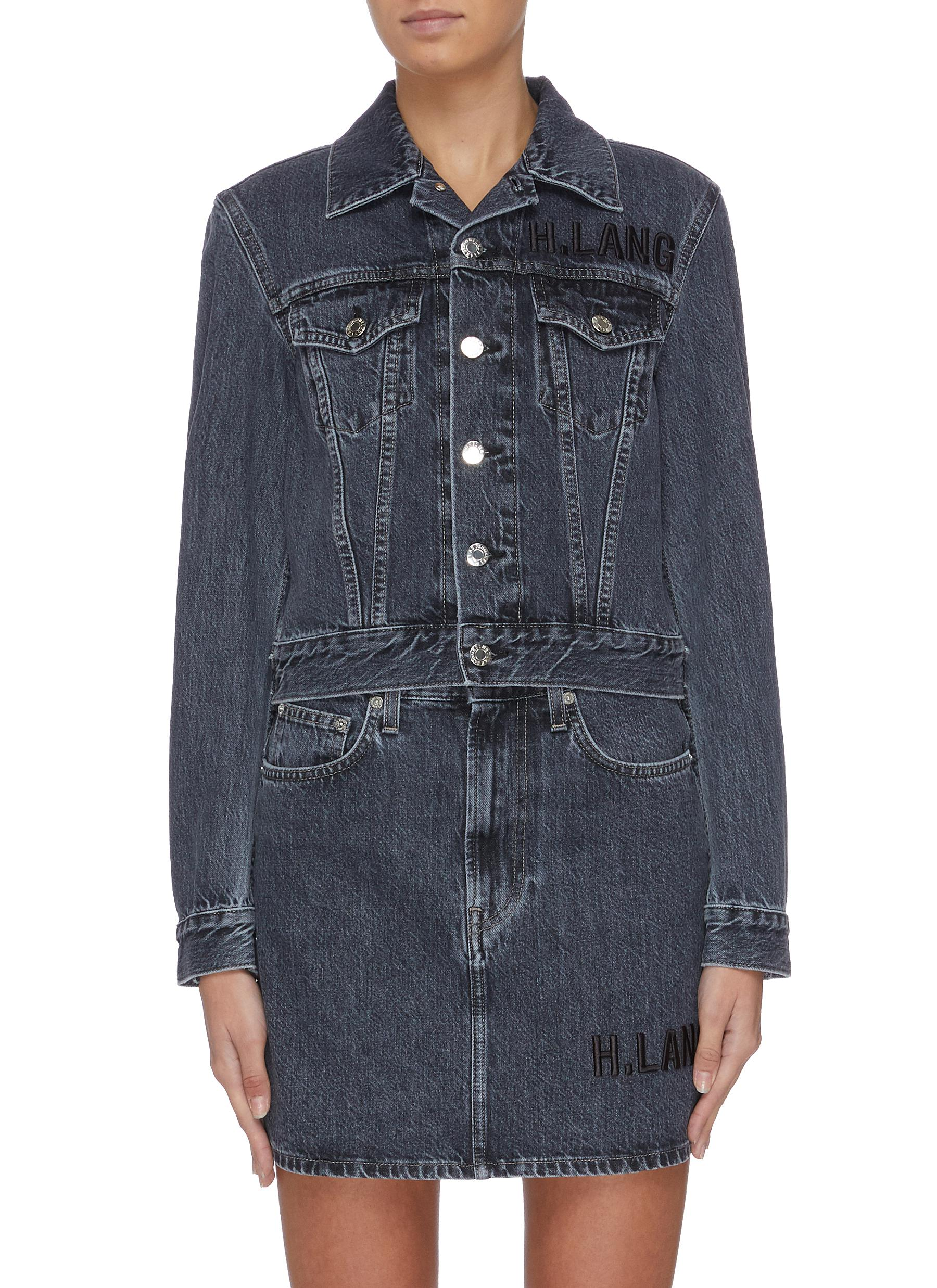 Acce Midnight belted denim trucker jacket by Helmut Lang