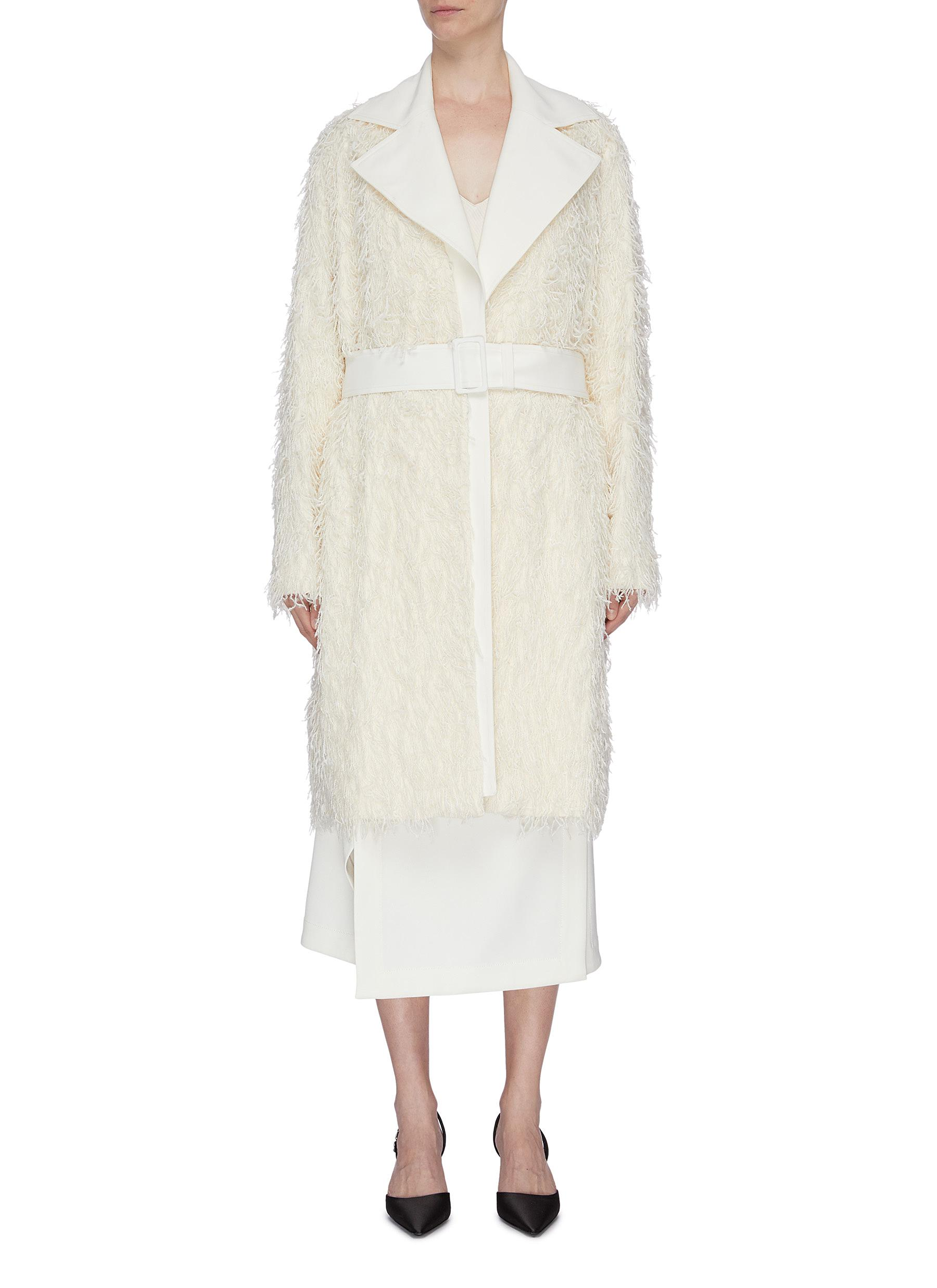 Belted fringed double breasted wool coat by Helmut Lang