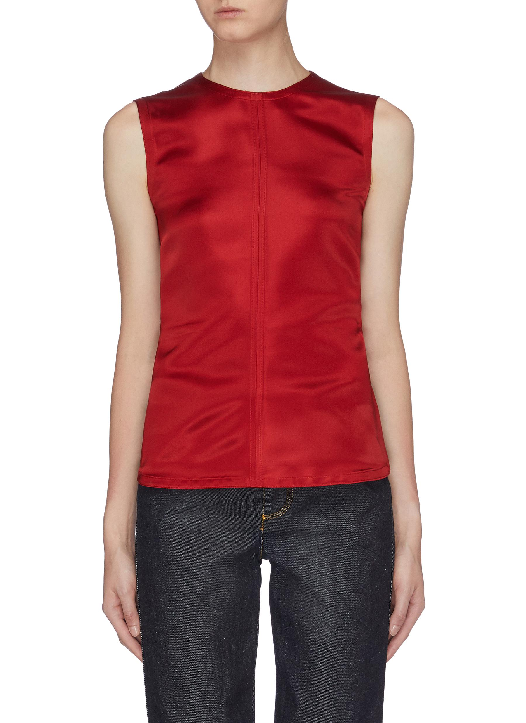 Cutout open back sleeveless satin top by Helmut Lang