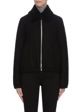 Main View - Click To Enlarge - HELMUT LANG - Tweed Virgin wool bomber jacket