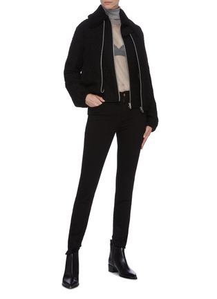 Figure View - Click To Enlarge - HELMUT LANG - Tweed Virgin wool bomber jacket