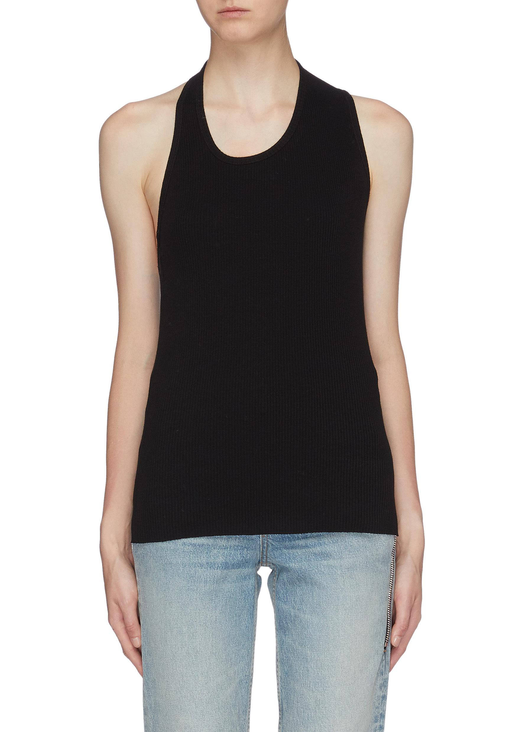 Asymmetric cutout back rib knit tank top by Helmut Lang