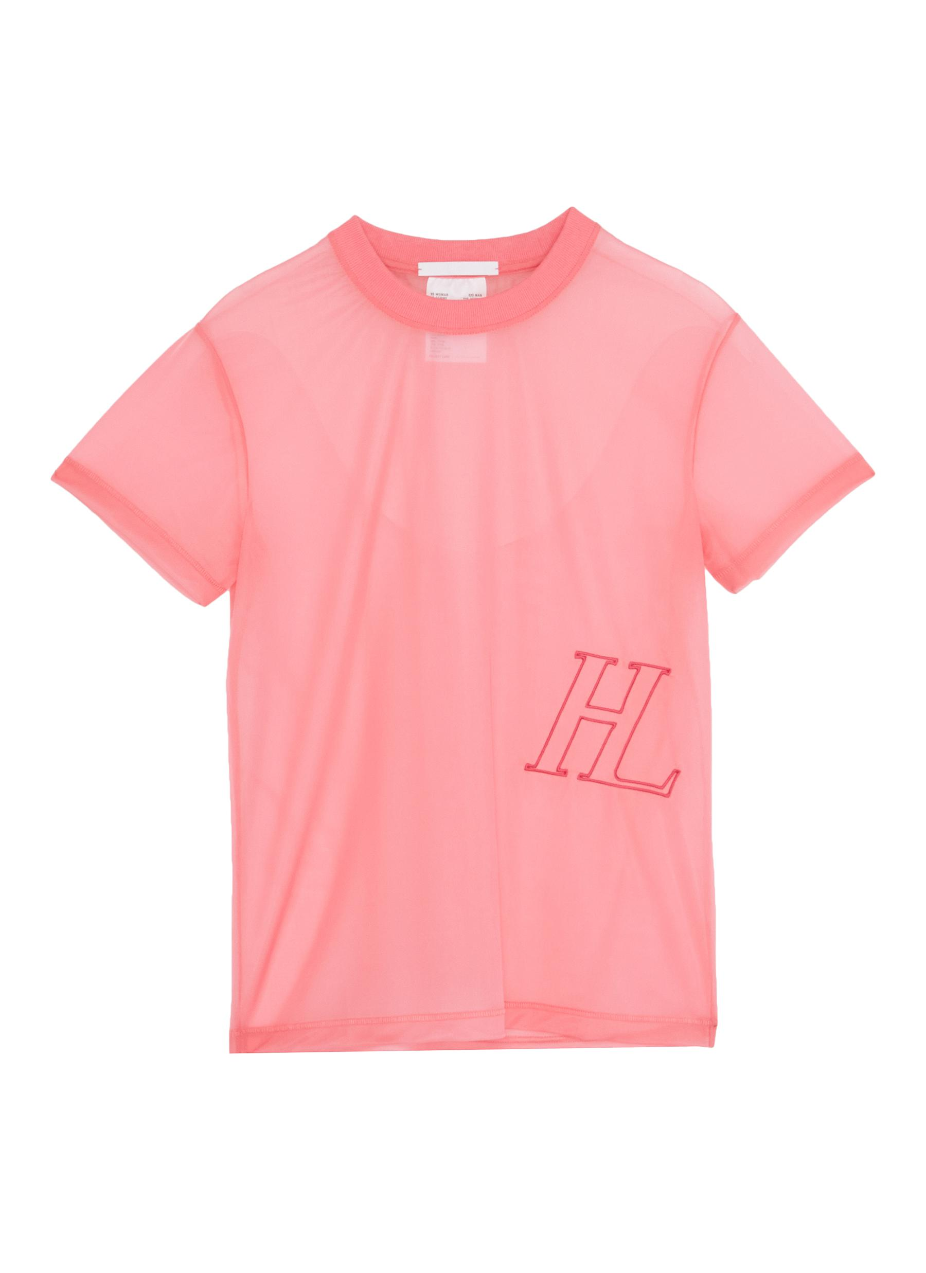 Monogram embroidered mesh T-shirt by Helmut Lang