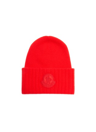 Main View - Click To Enlarge - MONCLER - Logo appliqué virgin wool knit beanie
