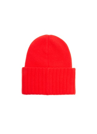 Figure View - Click To Enlarge - MONCLER - Logo appliqué virgin wool knit beanie