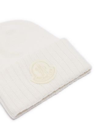 Detail View - Click To Enlarge - MONCLER - Logo appliqué virgin wool knit beanie