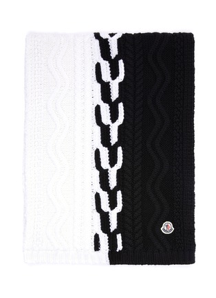 Detail View - Click To Enlarge - MONCLER - Colourblock virgin wool cable knit scarf