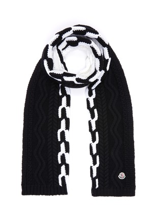 Main View - Click To Enlarge - MONCLER - Colourblock virgin wool cable knit scarf