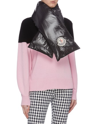 Figure View - Click To Enlarge - MONCLER - Logo appliqué reversible down puffer scarf
