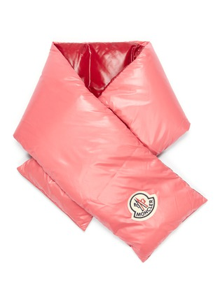 Main View - Click To Enlarge - MONCLER - Logo appliqué reversible down puffer scarf