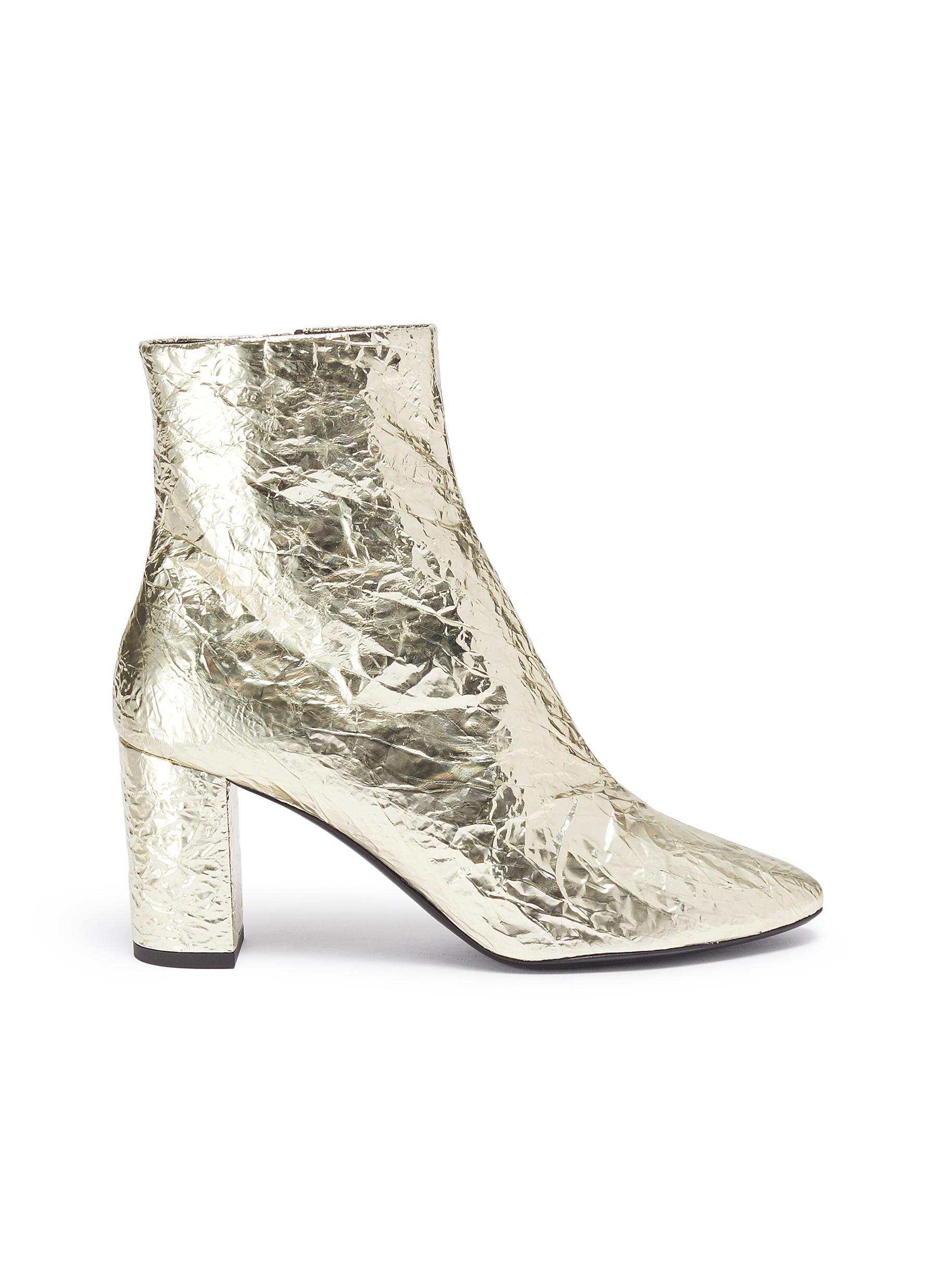 Lou wrinkled metallic leather ankle boots by Saint Laurent