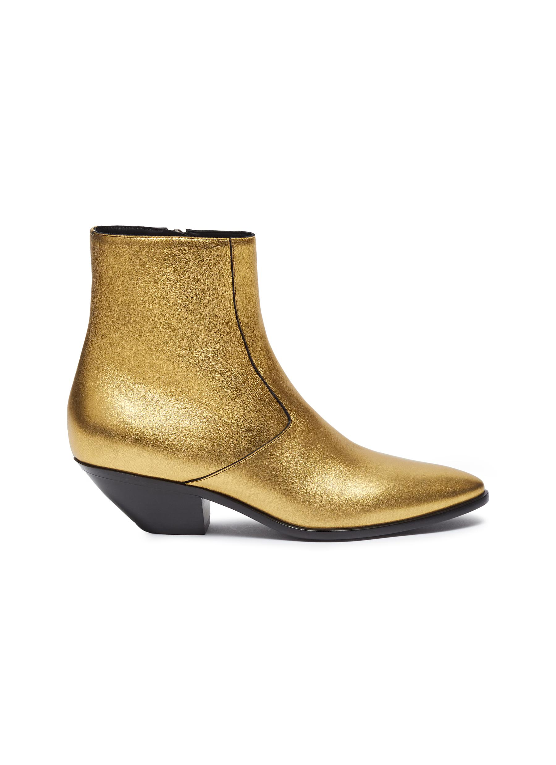 West slanted heel metallic leather ankle boots by Saint Laurent