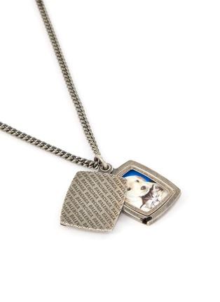 Detail View - Click To Enlarge - BALENCIAGA - Logo engraved square pendant necklace