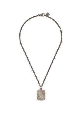 Main View - Click To Enlarge - BALENCIAGA - Logo engraved square pendant necklace