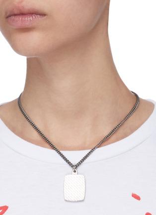 Figure View - Click To Enlarge - BALENCIAGA - Logo engraved square pendant necklace