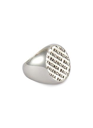 Main View - Click To Enlarge - BALENCIAGA - 'Precious' logo engraved metal ring
