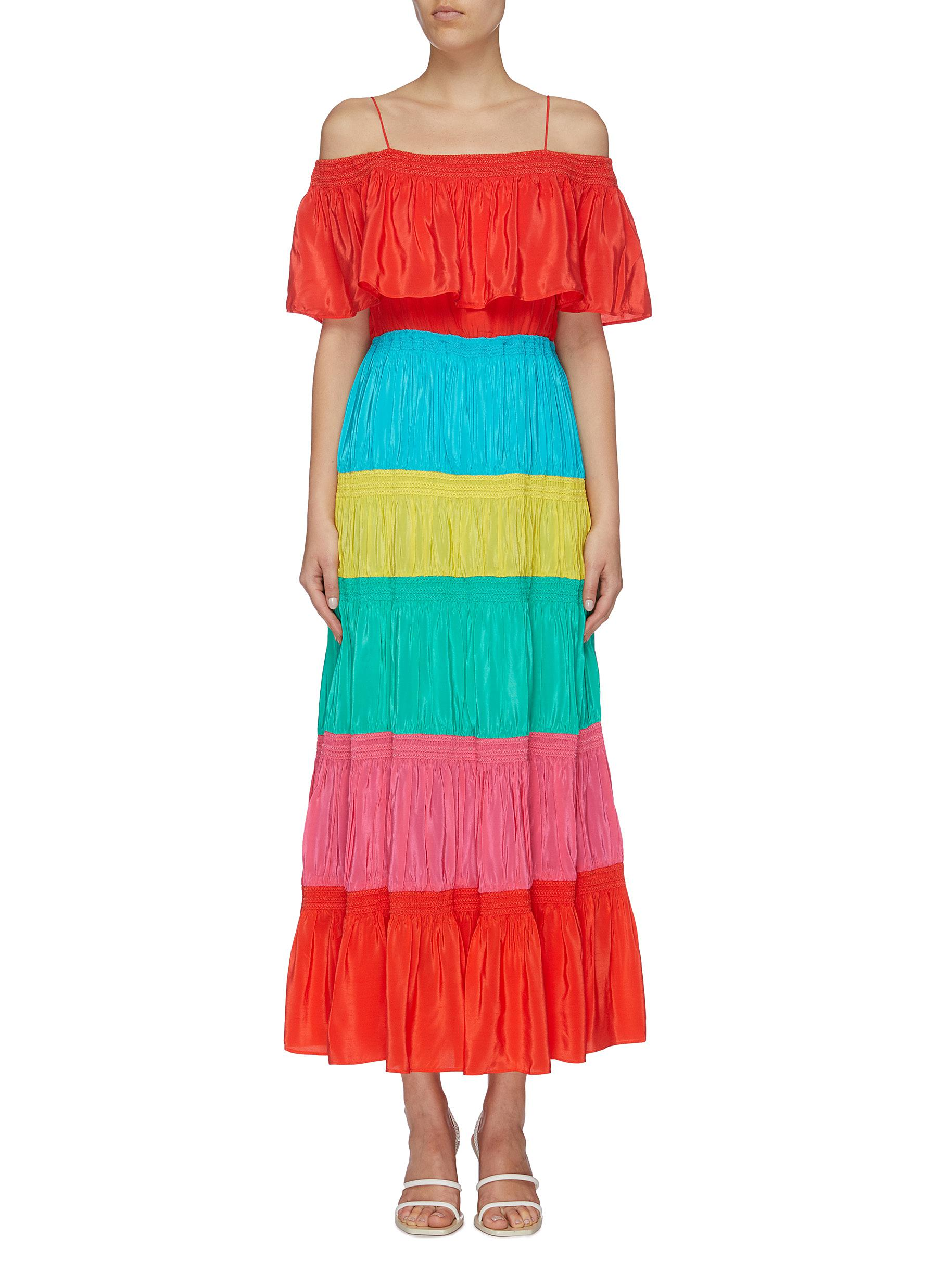 Kia colourblock smocked tiered maxi off-shoulder dress by Alice + Olivia
