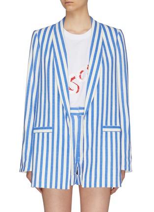 Main View - Click To Enlarge - ALICE + OLIVIA - 'Kylie' shawl lapel stripe blazer