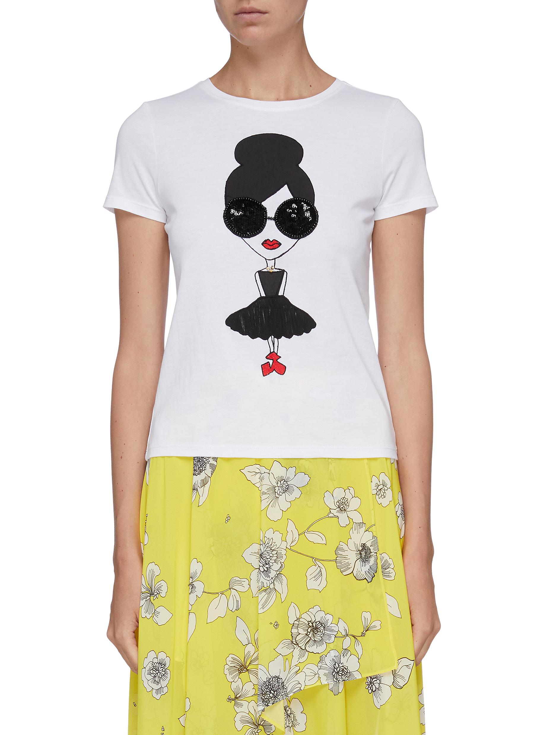 Rylyn sequin Stacey T-shirt by Alice + Olivia
