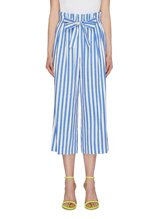 Main View - Click To Enlarge - ALICE + OLIVIA - 'Loni' tie stripe paperbag gaucho pants