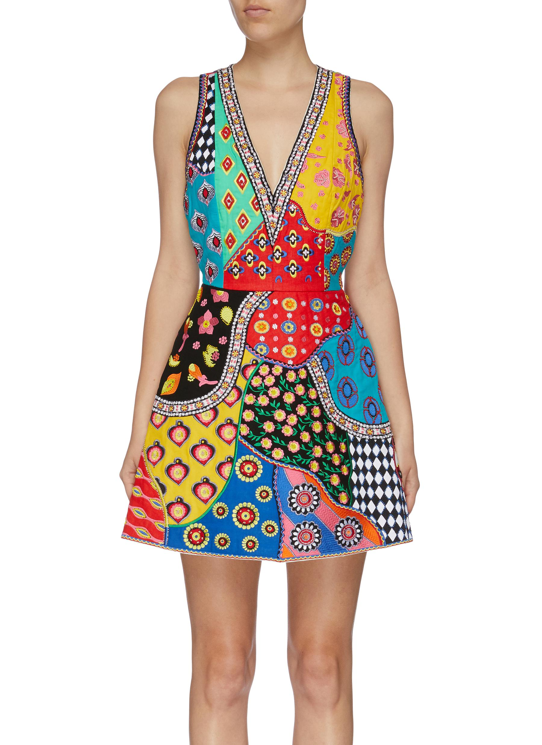 Tennie mix graphic embroidered patchwork dress by Alice + Olivia