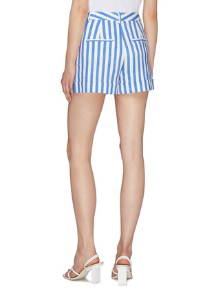 Back View - Click To Enlarge - ALICE + OLIVIA - 'Conry' roll cuff pleated stripe shorts