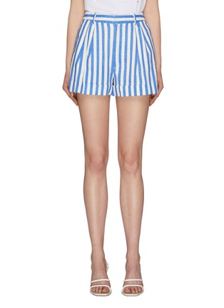 Main View - Click To Enlarge - ALICE + OLIVIA - 'Conry' roll cuff pleated stripe shorts
