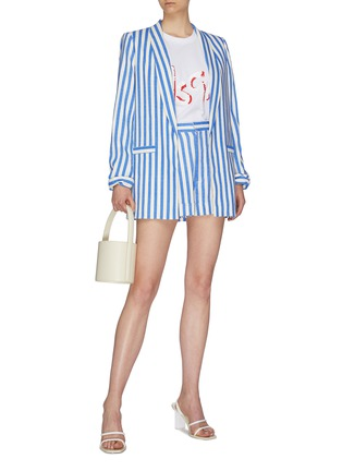 Figure View - Click To Enlarge - ALICE + OLIVIA - 'Conry' roll cuff pleated stripe shorts