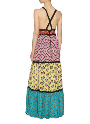 Back View - Click To Enlarge - ALICE + OLIVIA - x Carla Kranendonk graphic print patchwork camisole maxi dress