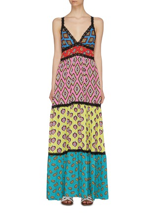 Main View - Click To Enlarge - ALICE + OLIVIA - x Carla Kranendonk graphic print patchwork camisole maxi dress