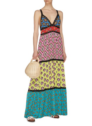 Figure View - Click To Enlarge - ALICE + OLIVIA - x Carla Kranendonk graphic print patchwork camisole maxi dress