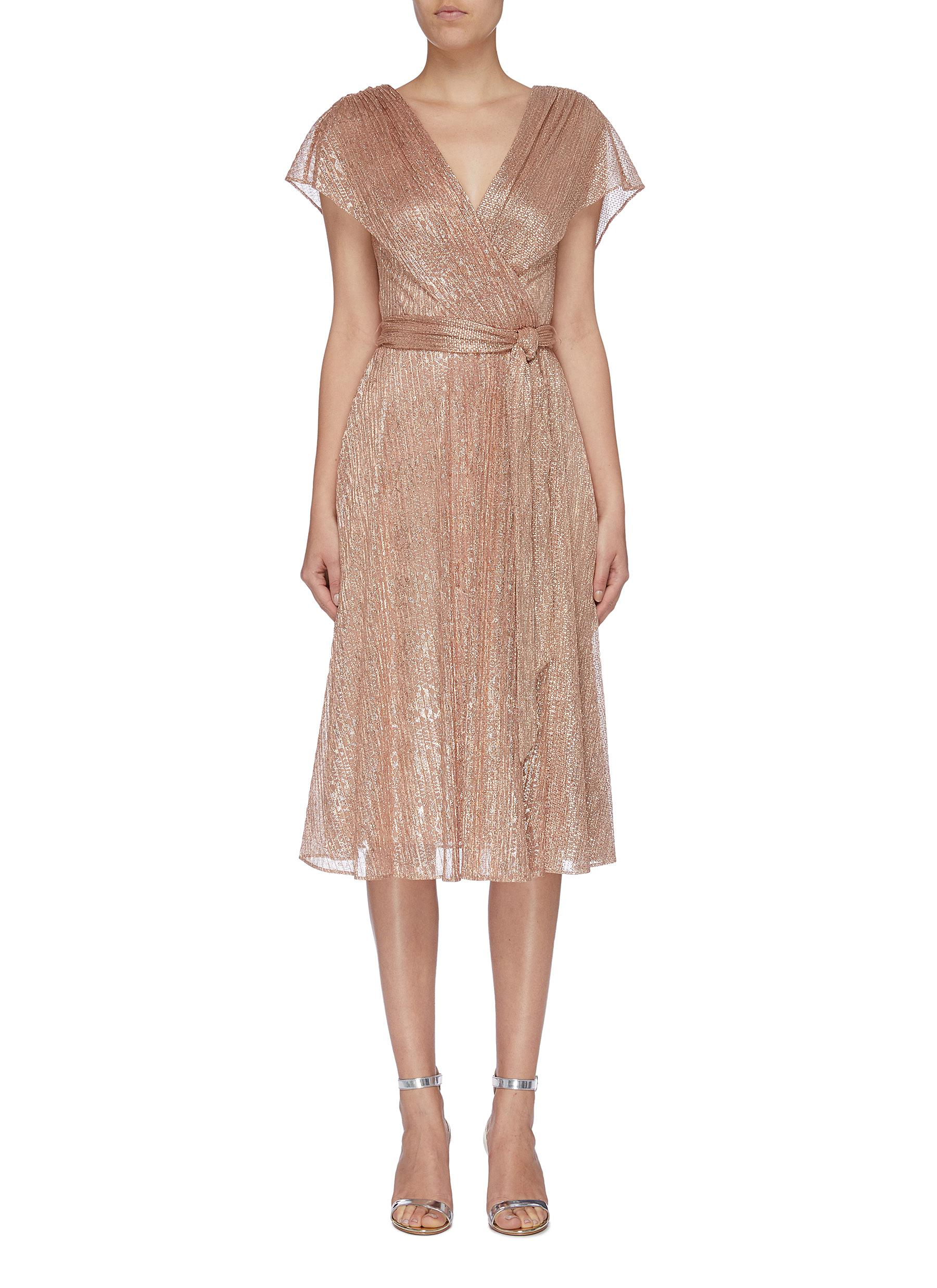 Darva belted mock wrap lamé dress by Alice + Olivia