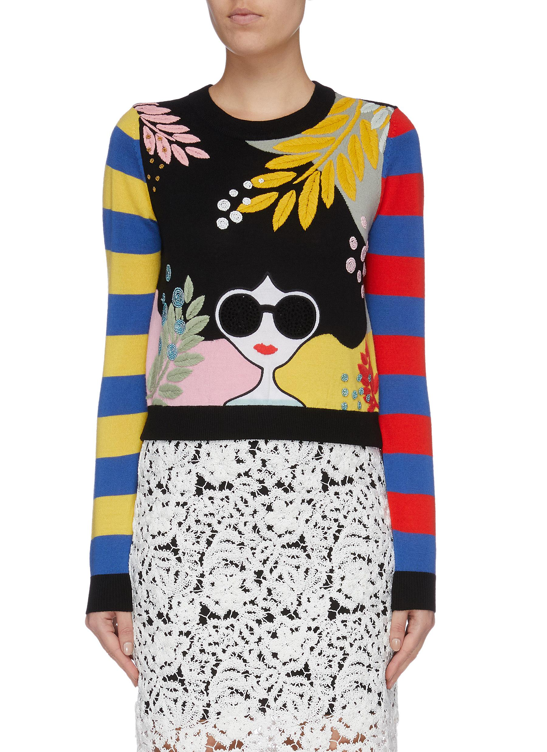 Killian stripe sleeve Stacey embellished sweater by Alice + Olivia