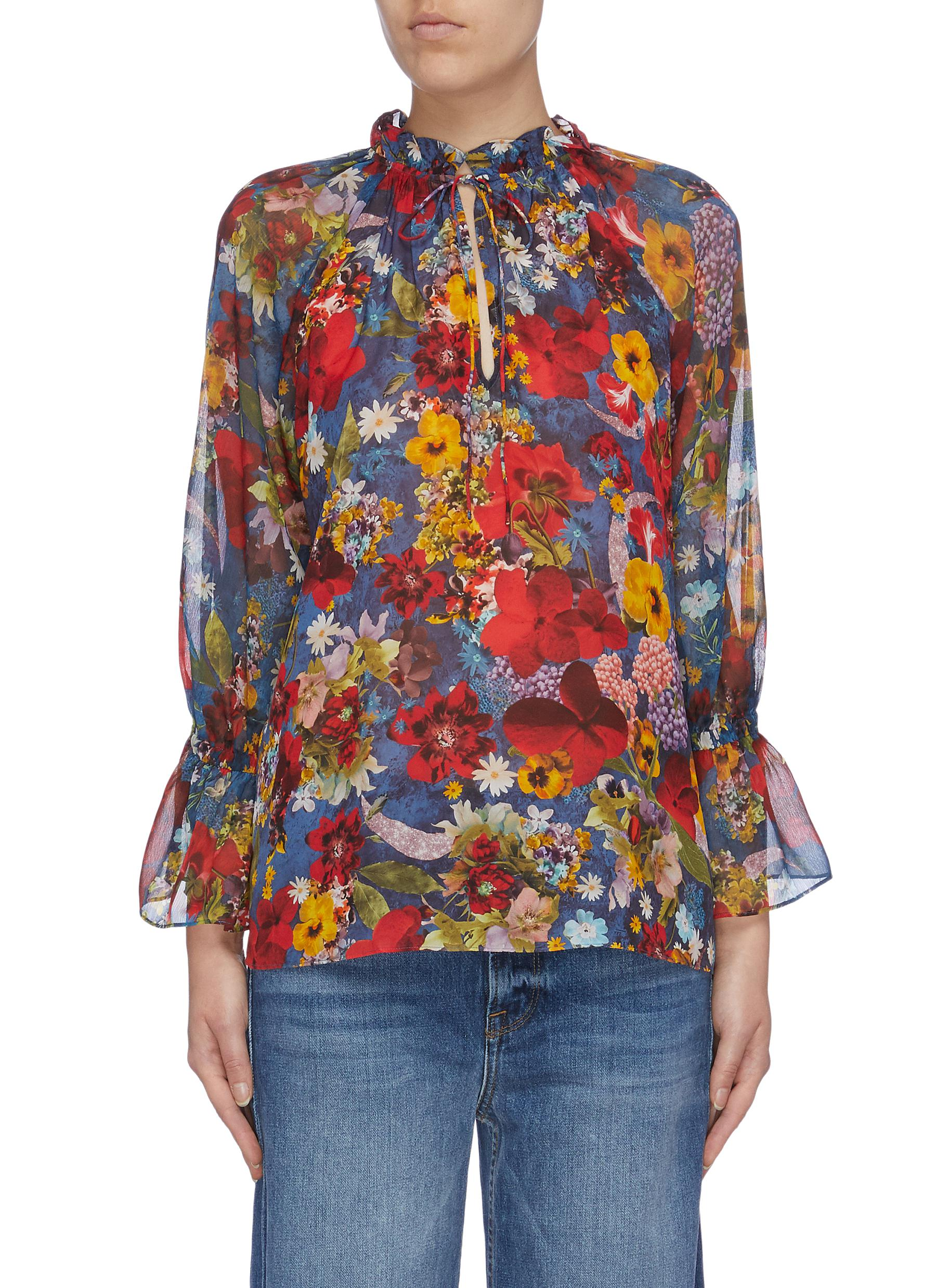 Julius tie flared cuff floral photographic print top by Alice + Olivia