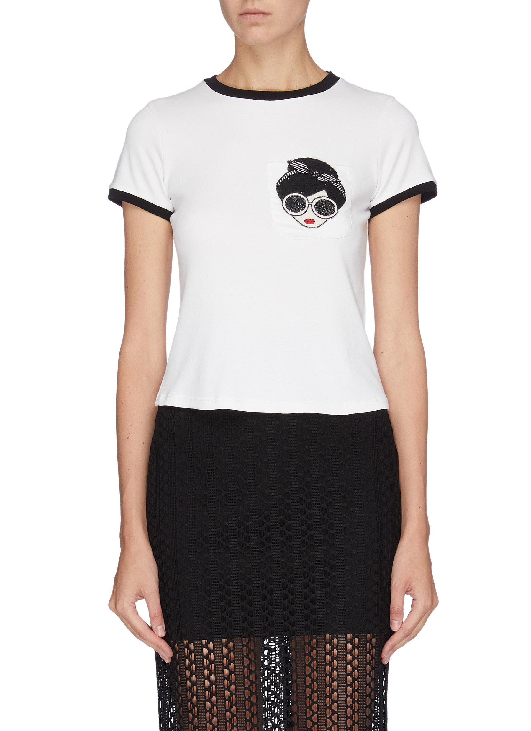 Rylyn Stacey patched T-shirt by Alice + Olivia