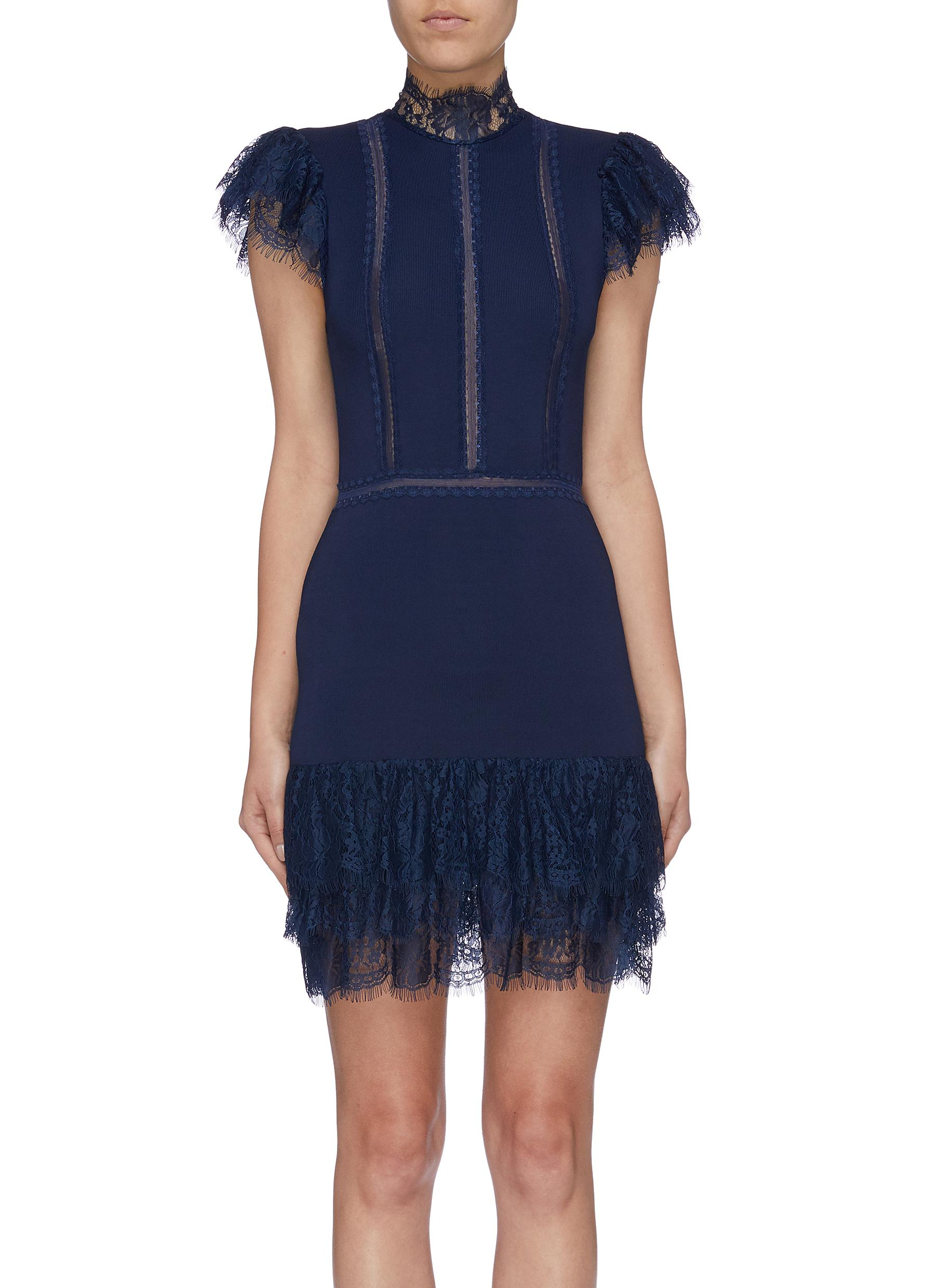Roset lace trim ruffle hem dress by Alice + Olivia