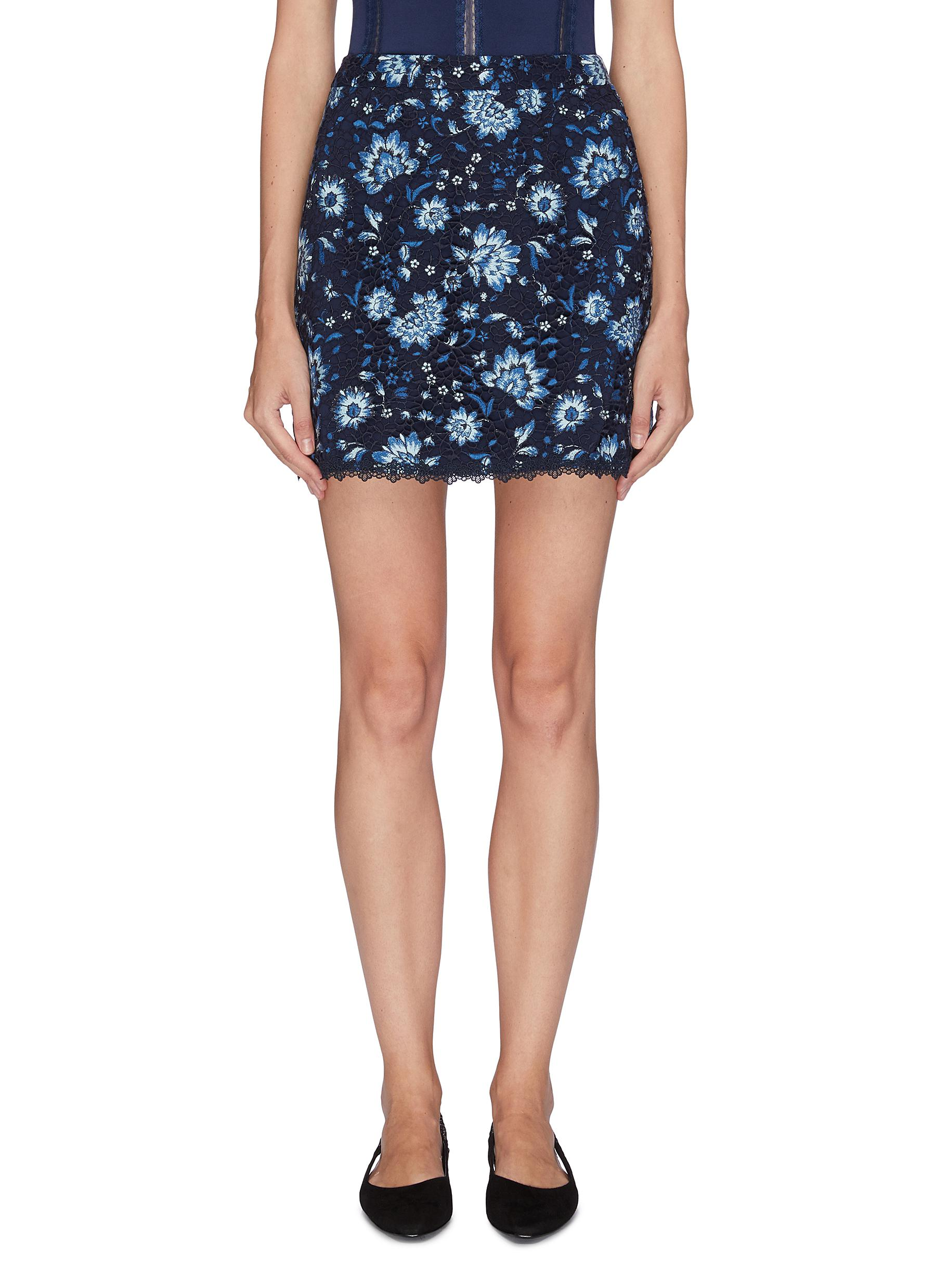 Tilda lace trim floral embroidered skirt by Alice + Olivia