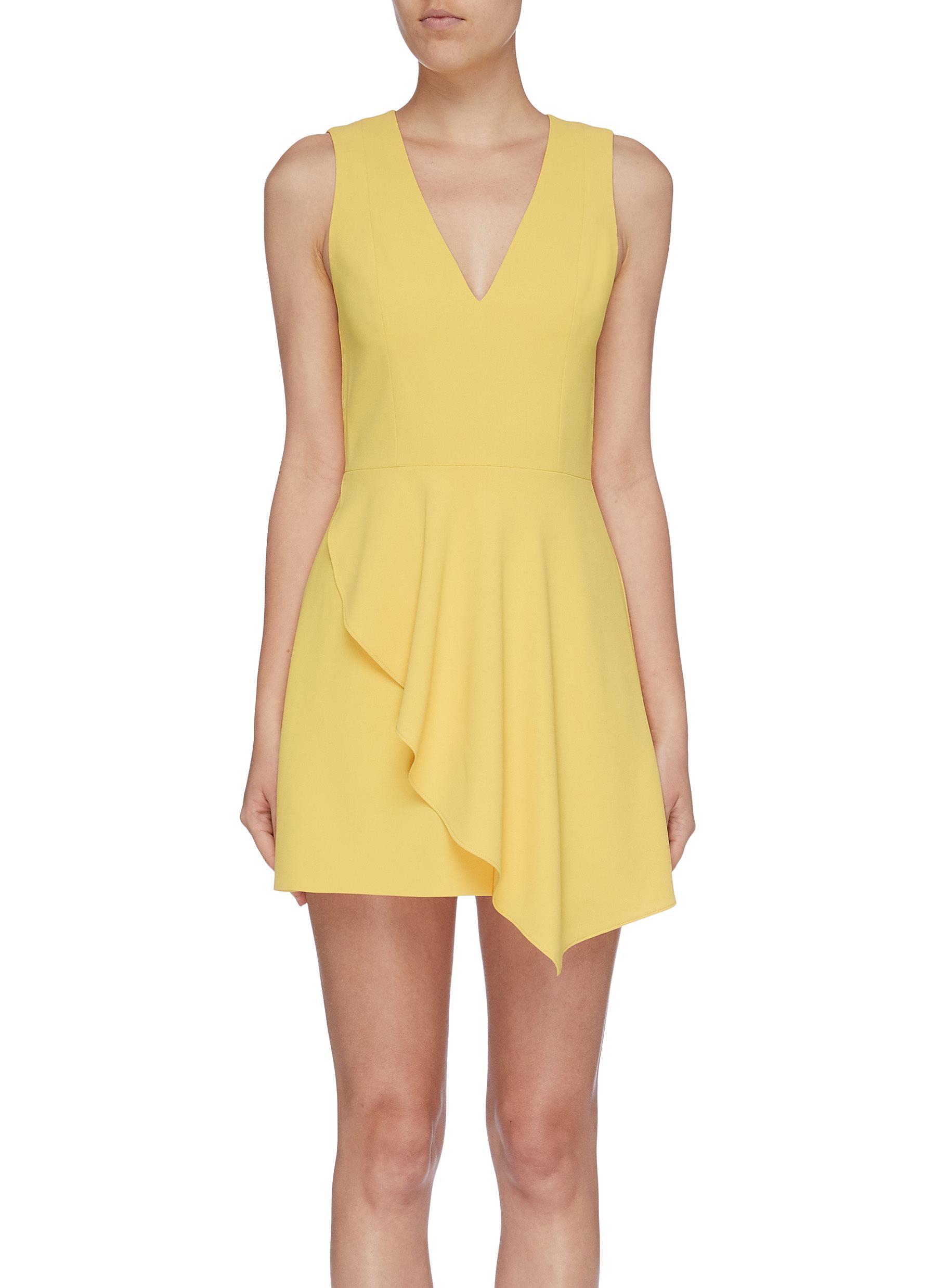 Callie asymmetric ruffle sleeveless crepe dress by Alice + Olivia