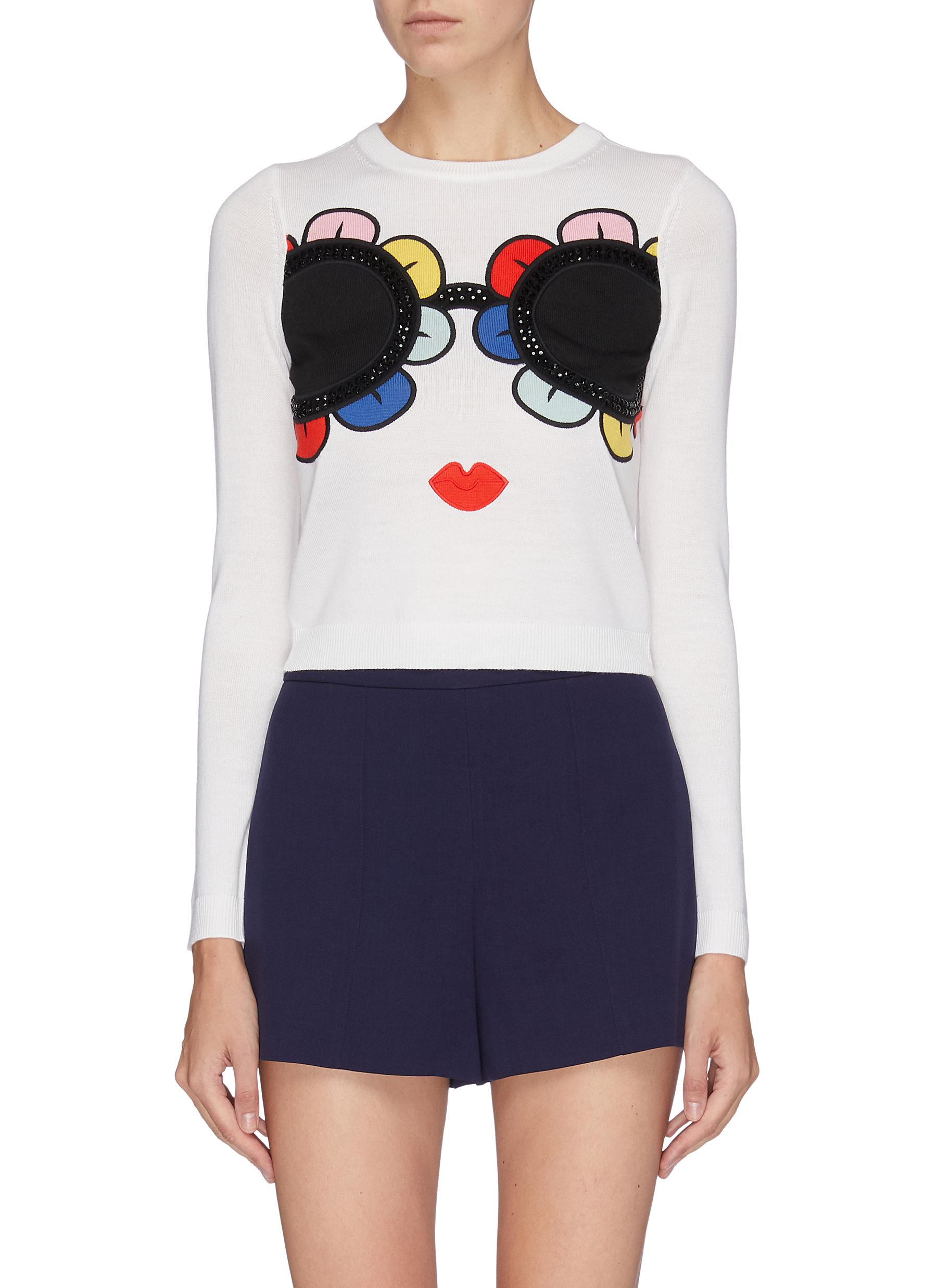 Connie Stacey embellished sweater by Alice + Olivia