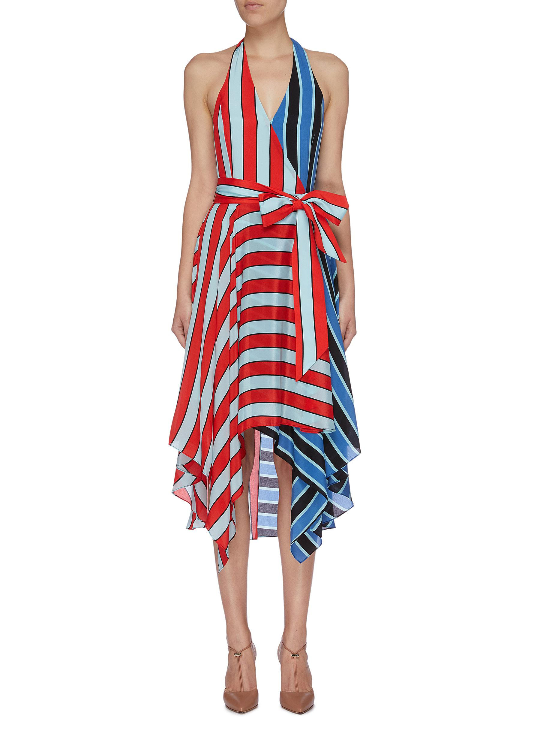 Canton belted colourblock stripe silk halterneck dress by Alice + Olivia