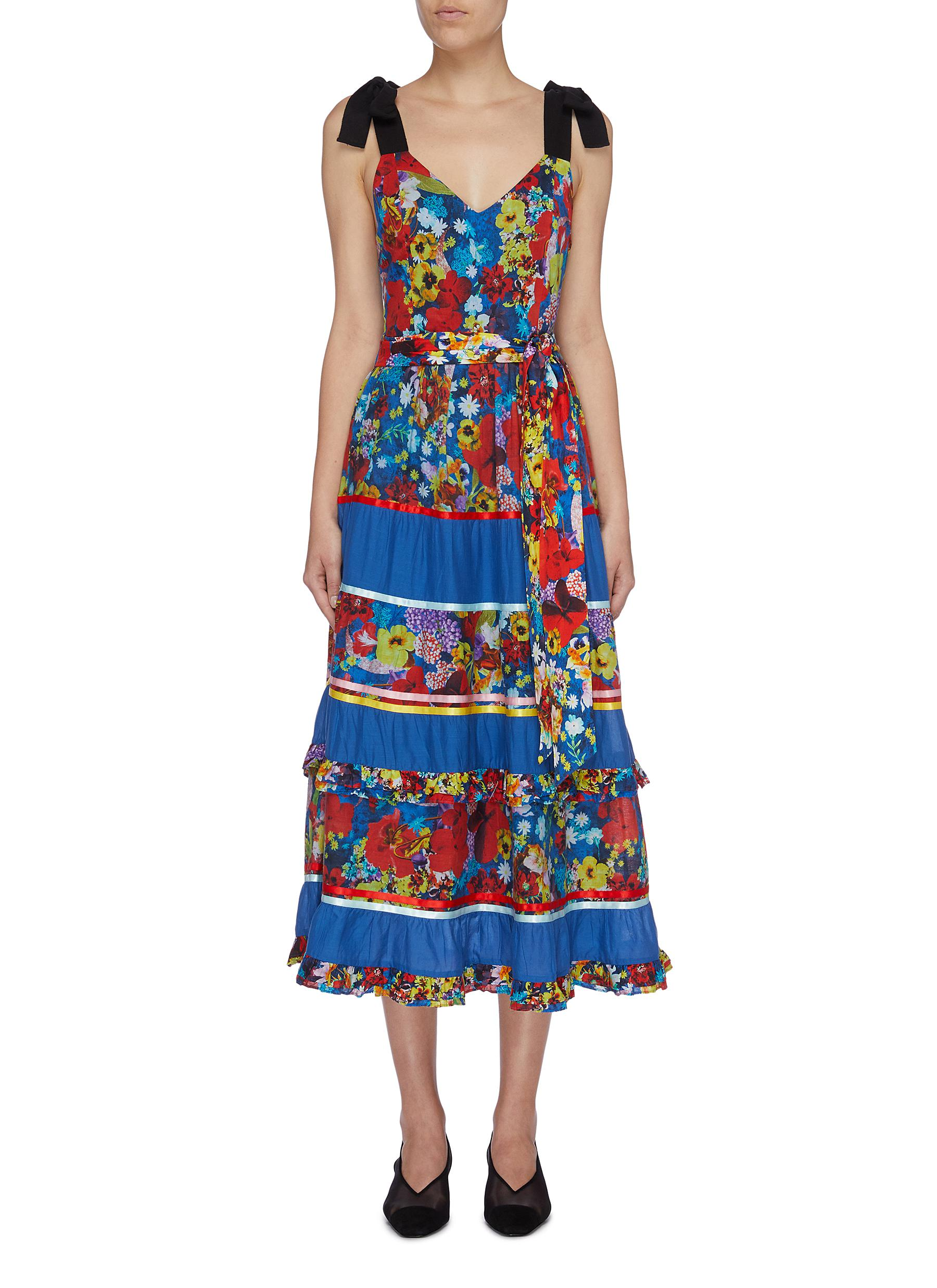 Gayla belted tie strap floral print tiered dress by Alice + Olivia