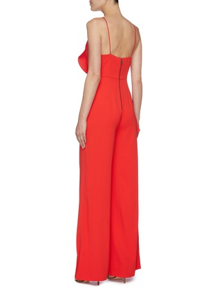 Back View - Click To Enlarge - ALICE + OLIVIA - 'Keeva' asymmetric ruffle drape wide leg jumpsuit