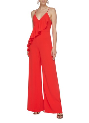 Figure View - Click To Enlarge - ALICE + OLIVIA - 'Keeva' asymmetric ruffle drape wide leg jumpsuit