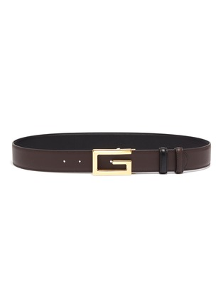 Detail View - Click To Enlarge - GUCCI - Square G buckle reversible leather belt