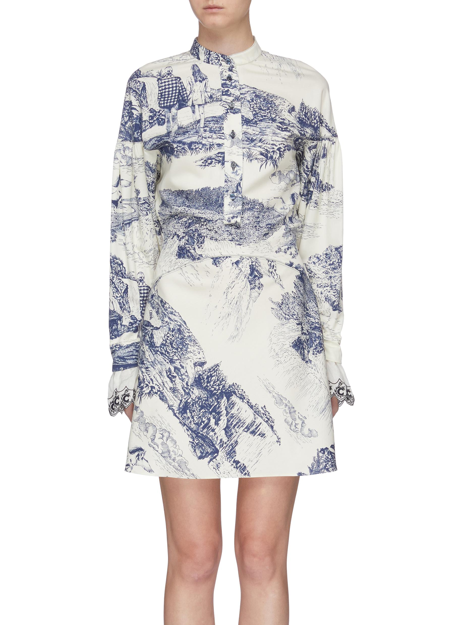 Scallop cuff Toile De Jouy print dress by Chloé