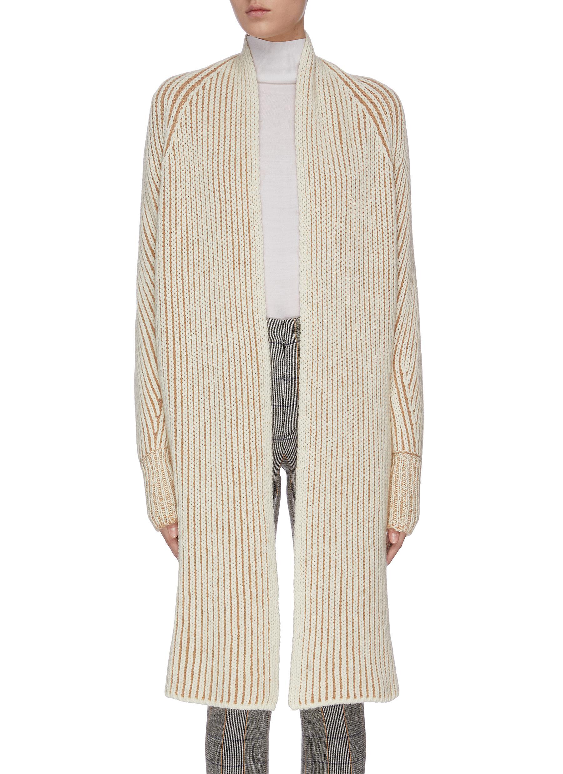 Rib stitch knit long open cardigan by Chloé
