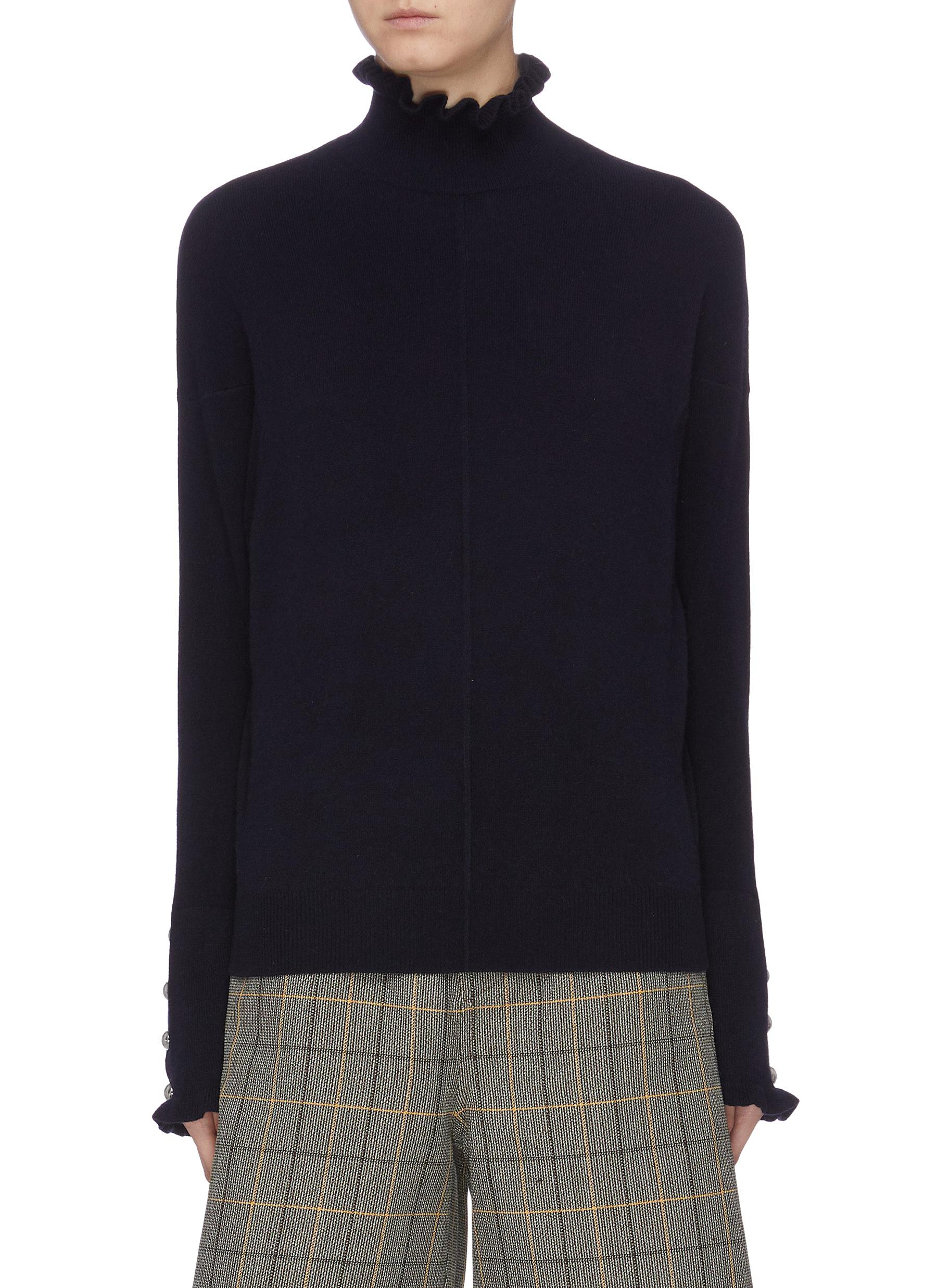 Button cuff ruffle turtleneck sweater by Chloé